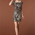 Temperament Dresses Summer Women Leopard Print Zebra Print - Coffee