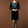 Temperament Dresses Winter Women Sparkly Leopard Print Plus Size Diamond - Blue