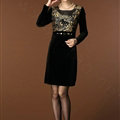 Temperament Dresses Winter Women Sparkly Leopard Print Plus Size Diamond - Gold