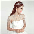 Alloy Flower Rhinestone Zircon Bridal Necklace Wedding Tassel Shoulder Chain Accessories - White