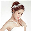 Alloy Leaf Pearls Flower Bridal Headbands Necklace Earrings Women Princess Style Jewelry Sets - Silver