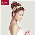 Alloy Leaves Crystal Pearl Soft Chain Bride Headbands Women Wedding Hair Accessories - Gold