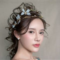Baroque Bride Headdress Pearl Dragonfly Retro Alloy Hairbands Wedding Accessories - Gold