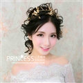 Baroque Bride Headdress Retro Dragonfly Hairbands With Double-row Wedding Accessories - Gold