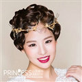 Baroque Bride Headdress Retro Dragonfly Hairbands With Single-row Wedding Accessories - Gold