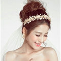 Beaded Leaf Rhinestone Flower Bridal Headbands Earrings Women Princess Style Jewelry Sets - Gold