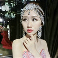 Beautiful Rhinestone Tassel Bohemia Bridal Teardrop Frontlet Stage Headband Hair Accessories - White