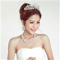 Calssic Rhinestone Bride Jewelry Sets Statement Necklace Earrings Women Dinner Accessories - White