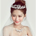 Ceramic Flower Crystals Beads Pearls Bridal Jewelry Tiaras Necklace Earring Wedding Sets 3pcs - White