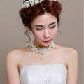 Ceramic Flower Pearl Crystals Bridal Tiaras Necklace Earring Queen Wedding Jewelry Sets 3pcs - White