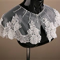 European Style Bride Embroidery Lace Flower Pearls Sequins Shawls Wedding Shoulder Wrap Jewelry