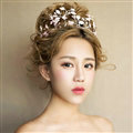 European style Bride Crown Crystal Alloy Flower Branch Hairbands Wedding Accessories - Pink