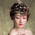 European style Retro Bride Alloy Dragonfly Bees Pearls Hair bands Women Hair Hoop - Gold