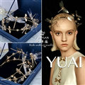European style Retro Bride Hand Alloy Dragonfly Pearls Hair bands Women Hair Hoop - Gold