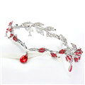 Fashion Alloy Rhinestone Bohemia Bridal Frontlet Pendant Headbands Hair Accessories - Red