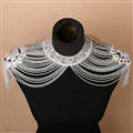 Fashion Lace Crystal Beads Bridal Necklace Wedding Jewelry Shoulder Chain Tassel Accessories