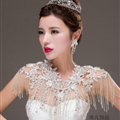 Fashion Lace Flower Rhinestone Bridal Necklace Wedding Ornate Tassel Shoulder Chain Accessories