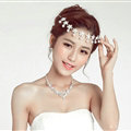Flower Alloy Rhinestone Bohemia Bridal Frontlet Pendant Pearls Headbands Hair Accessories - White