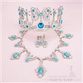 Gem Rhinestone Butterfly Bridal Jewelry Tiaras Necklace Earring Women Wedding Sets 3pcs - Blue