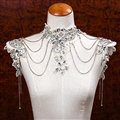 Gorgeous Lace Flower Pearls Rhinestone Tassel Bridal Necklace Shoulder Chain Wedding Accessories