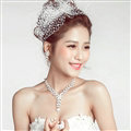 Gorgeous Rhinestone Pearl Flower Bridal Necklace Earrings Women Wedding Jewelry Sets - Silver