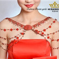 Hot sales Bridal Alloy Rhinestone Flower Shoulder Chain Unique Wedding Stage Jewelry - Red