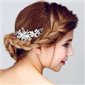 Hot sales Pearls Crystal Alloy Flower Bride Hair Combs Women Wedding Hair Accessories - Sliver