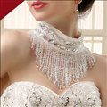 Luxurious Pearls Crystals Beads Bridal Necklace Wedding Tassel Rhinestone Shoulder Chain Accessories