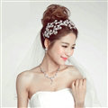 Luxury Alloy Rhinestone Flower Bridal Headbands Necklace Earrings Women Wedding Jewelry Sets - Silver