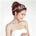 Luxury Alloy Rhinestone Stars Flower Bridal Headbands Necklace Earrings Women Wedding Jewelry Sets - Silver