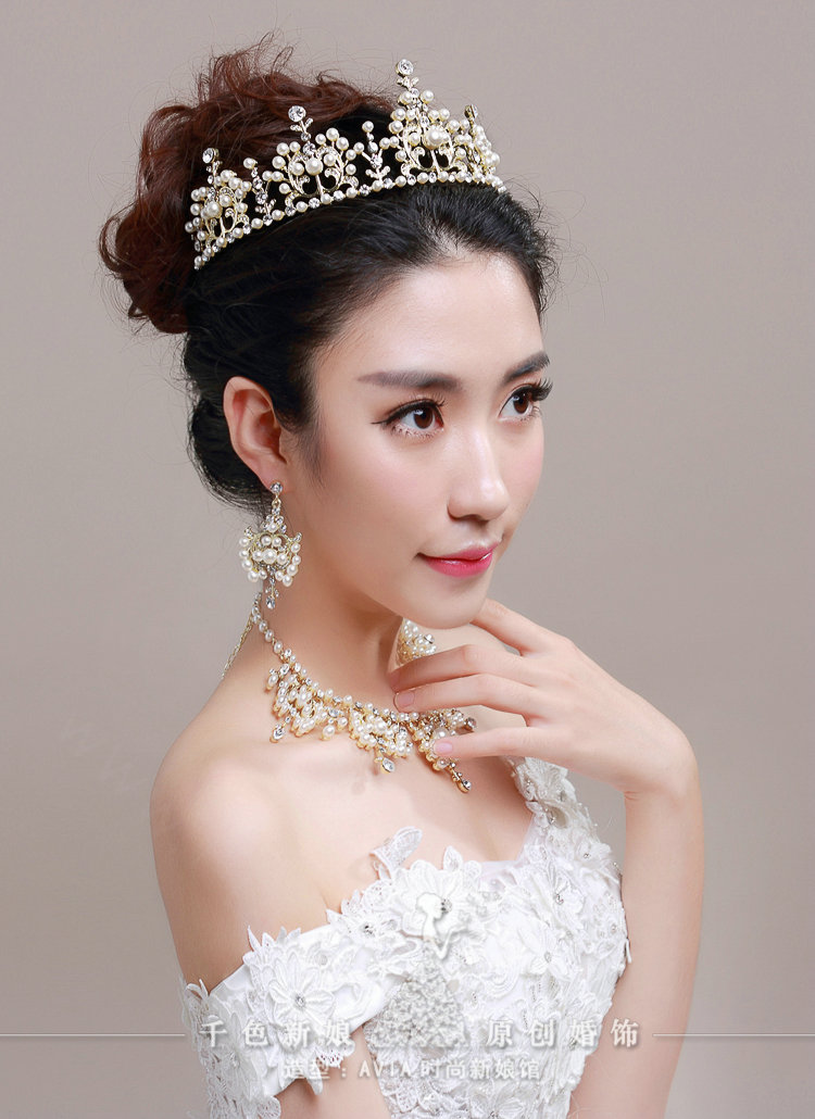 Buy Wholesale Luxury Pearl Crystals Bridal Tiaras Necklace Earring