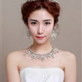 Luxury Pearl Crystals Bridal Tiaras Necklace Earring Queen Wedding Jewelry Sets 3pcs - White