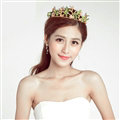 New Alloy Rhinestone Flower Bridal Jewelry Tiaras Earring Princess Style Pageant Sets 2pcs - Green