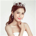 New Alloy Rhinestone Flower Bridal Jewelry Tiaras Earring Princess Style Pageant Sets 2pcs - White