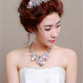 Pearl Crystals Beads Ceramic Flower Bridal Tiaras Necklace Earring Women Wedding Jewelry Sets 3pcs - Color