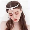Pearls Flower Alloy Rhinestone Bohemia Bridal Frontlet Pendant Headbands Hair Accessories - White