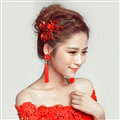 Retro Alloy Rhinestone Butterfly Bridal Headbands Jewelry Earring Women Weeding Sets - Red