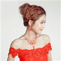 Retro Alloy Rhinestone Peacock Bridal Hairbands Necklace Earring Women Weeding Jewelry Sets - Red