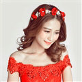 Retro Rhinestone Flower Pearl Bridal Hairbands Earring Women Weeding Jewelry Sets - Red