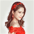 Retro Rhinestone Lace Flower Bridal Headbands Jewelry Earring Women Weeding Sets - Red