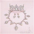 Rhinestone Gem Pendant Bridal Jewelry Tiaras Necklace Earring Women Wedding Sets 3pcs - White