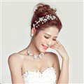 Romantic Pearls Flower Bridal Jewelry Tiaras Necklace Earring Women Weeding Sets 3pcs - White