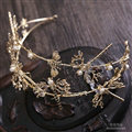 Simple European style Bride Alloy Dragonfly Bees Pearls Hair bands Women Hair Hoop - Gold