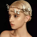 Simple European style Bride Alloy Dragonfly Pearls Hair bands Women Wedding Crown - Gold