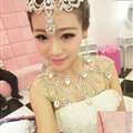Simple Rhinestone Zircon Bridal Necklace Wedding Stage Tassel Shoulder Chain Accessories