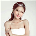 Unique Alloy Rhinestone Flower Bridal Jewelry Tiaras Earring Princess Style Pageant Sets 2pcs - White
