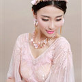 Unique Crystals Beads Yarn Flower Bridal Tiaras Necklace Earring Women Wedding Jewelry Sets 3pcs - Pink