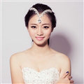 V Shape Alloy Rhinestone Bohemia Bridal Frontlet Pendant Headbands Hair Accessories - White
