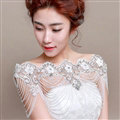 Vintage Bridal Lace Flower Crystal Beads Pearls Tassel Wedding Big Shoulder Chain Accessories