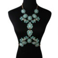 Alloy Rhinestone Flower Pendant Gem Necklace Bikini Beach Dress Decro Body Chain Jewelry - Blue